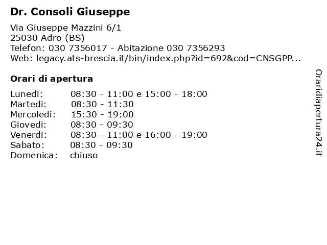 Dr. Consoli Giuseppe a Adro (BS): indirizzo e orari di apertura