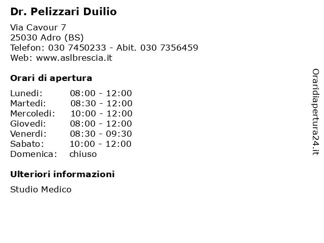 Dr. Pelizzari Duilio a Adro (BS): indirizzo e orari di apertura
