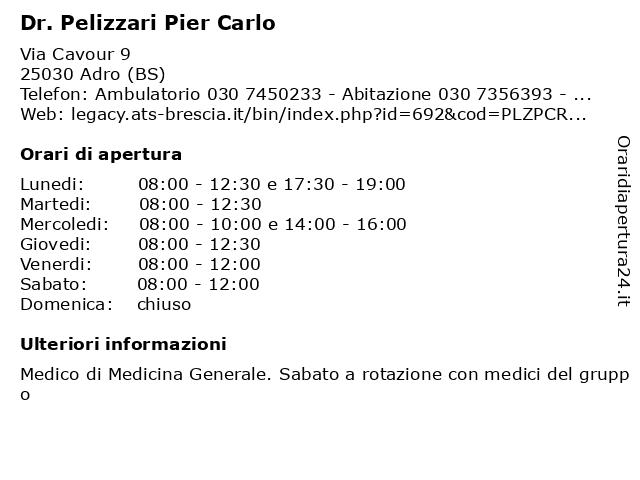 Dr. Pelizzari Pier Carlo a Adro (BS): indirizzo e orari di apertura