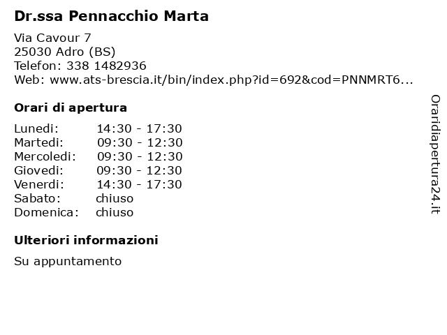 Dr.ssa Pennacchio Marta a Adro (BS): indirizzo e orari di apertura