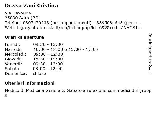 Dr.ssa Zani Cristina a Adro (BS): indirizzo e orari di apertura