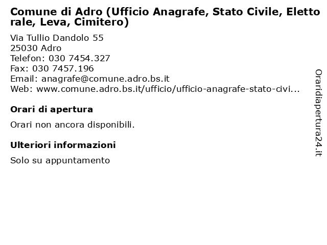 Comune di Adro - Anagrafe, Stato Civile, Elettorale, Leva e Cimitero a Adro: indirizzo e orari di apertura