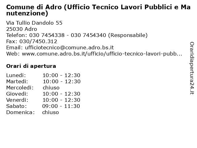 Comune di Adro - Ufficio Lavori Pubblici a Adro: indirizzo e orari di apertura