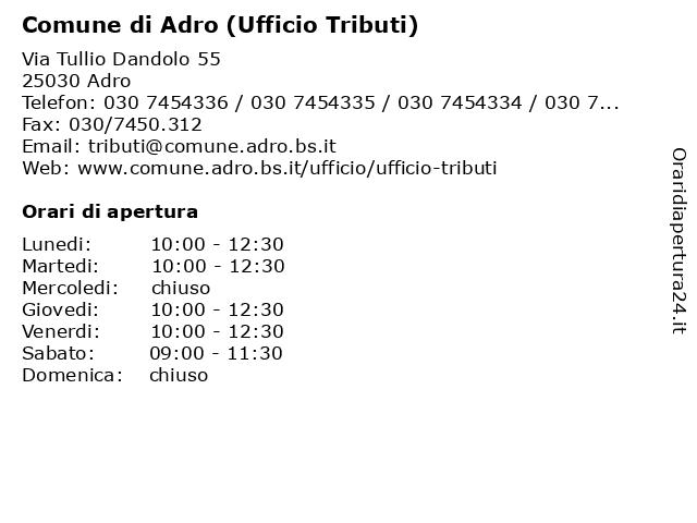 Comune di Adro - Ufficio Tributi a Adro: indirizzo e orari di apertura