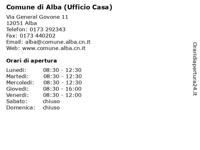 Comune di Alba (Ufficio Casa) a Alba: indirizzo e orari di apertura