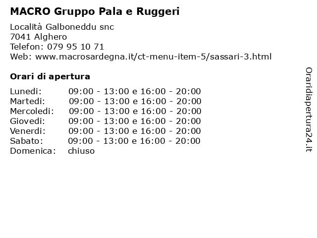 MACRO Gruppo Pala e Ruggeri a Alghero: indirizzo e orari di apertura