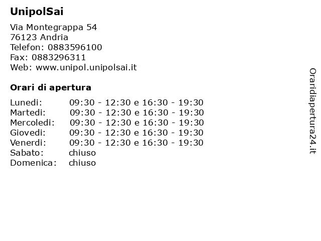 UnipolSai a Andria: indirizzo e orari di apertura