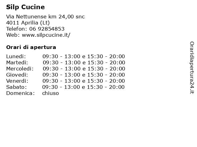 Á… Orari Silp Cucine Via Nettunense Km 24 00 Snc 04011 Aprilia Lt