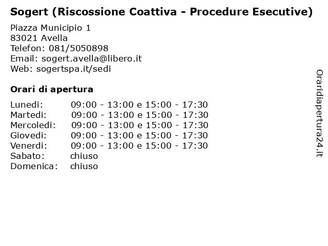 Sogert (Riscossione Coattiva - Procedure Esecutive) a Avella: indirizzo e orari di apertura