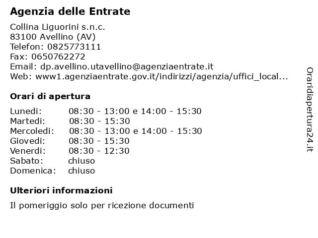 Agenzia delle Entrate a Avellino (AV): indirizzo e orari di apertura