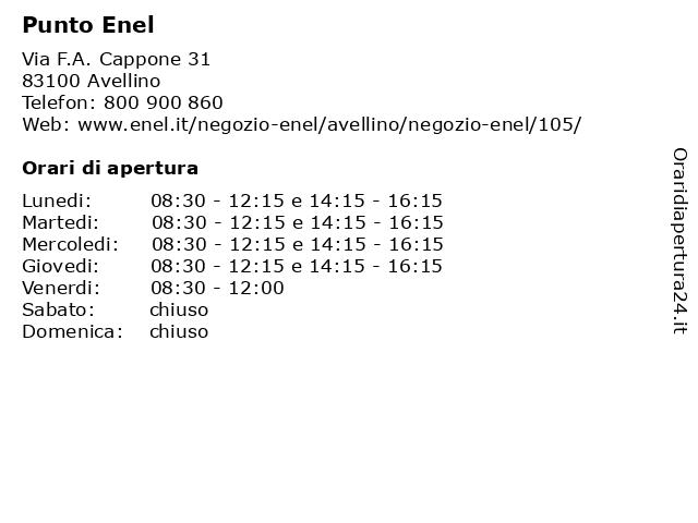 Punto Enel a Avellino: indirizzo e orari di apertura