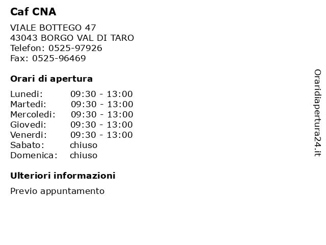 Caf CNA a BORGO VAL DI TARO: indirizzo e orari di apertura