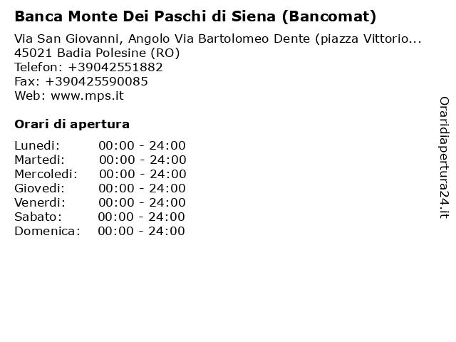Banca Monte Dei Paschi di Siena (Bancomat) a Badia Polesine (RO): indirizzo e orari di apertura