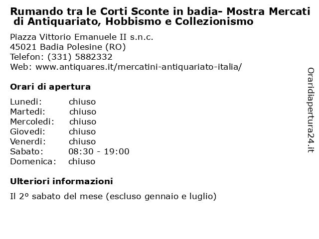 Rumando tra le Corti Sconte in badia- Mostra Mercati di Antiquariato, Hobbismo e Collezionismo a Badia Polesine (RO): indirizzo e orari di apertura