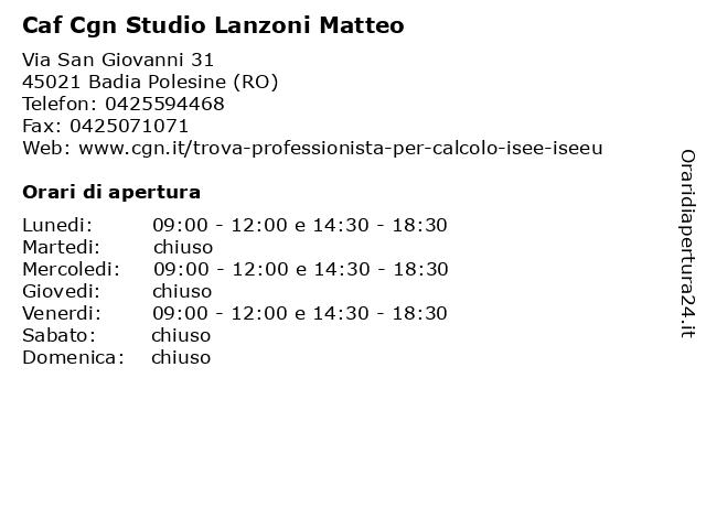 Caf Cisl - INAS a Badia Polesine (Ro): indirizzo e orari di apertura