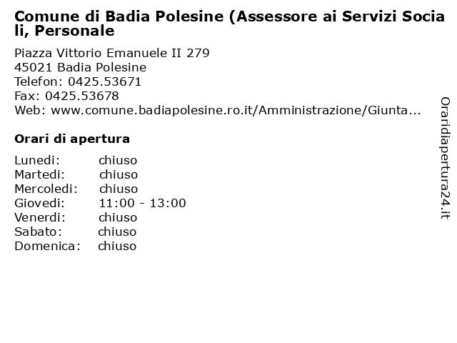 Comune di Badia Polesine (Assessore ai Servizi Sociali, Personale a Badia Polesine: indirizzo e orari di apertura