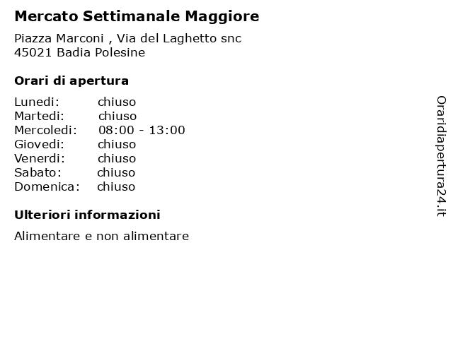 Mercato Settimanale Maggiore a Badia Polesine: indirizzo e orari di apertura