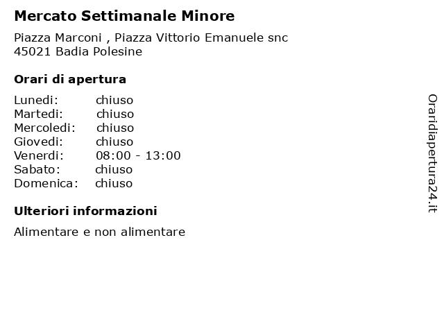 Mercato Settimanale Minore a Badia Polesine: indirizzo e orari di apertura