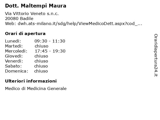 Dott. Maltempi Maura a Badile: indirizzo e orari di apertura