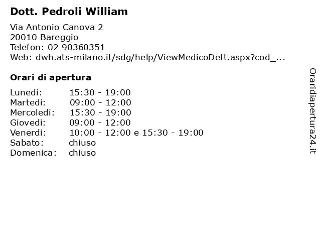 Dott. Pedroli William a Bareggio: indirizzo e orari di apertura