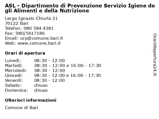 ASL - Dipartimento di Prevenzione Servizio Igiene degli Alimenti e della Nutrizione a Bari: indirizzo e orari di apertura