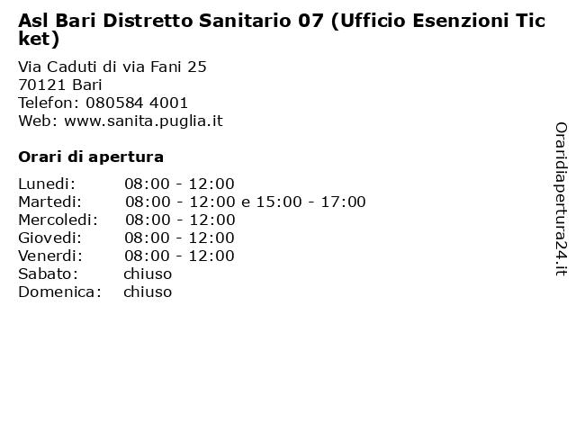Asl Bari Distretto Sanitario 07 (Ufficio Esenzioni Ticket) a Bari: indirizzo e orari di apertura