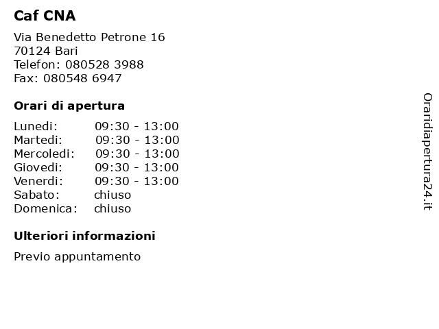Caf CNA a Bari: indirizzo e orari di apertura