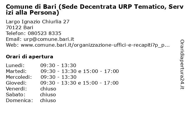 Comune di Bari (Sede Decentrata URP Tematico, Servizi alla Persona) a Bari: indirizzo e orari di apertura