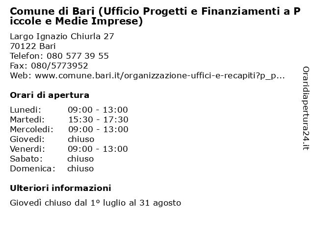 Comune di Bari (Ufficio Progetti e Finanziamenti a Piccole e Medie Imprese) a Bari: indirizzo e orari di apertura