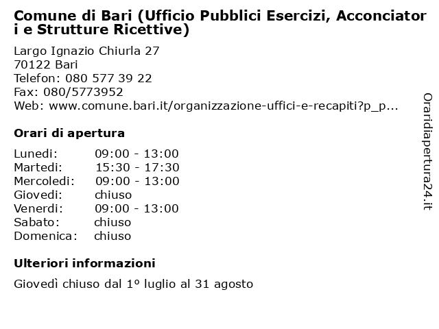 Comune di Bari (Ufficio Pubblici Esercizi, Acconciatori e Strutture Ricettive) a Bari: indirizzo e orari di apertura