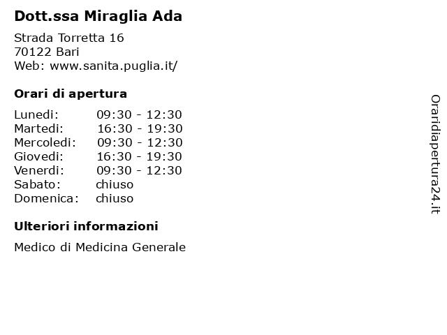 Dott.ssa Miraglia Ada (Medico di Medicina Generale) a Bari: indirizzo e orari di apertura