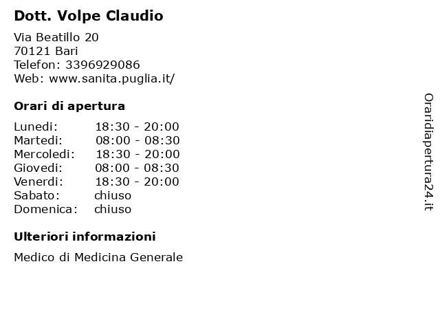 Dottor Uva Alessandro (Medico di Medicina Generale) a Bari: indirizzo e orari di apertura
