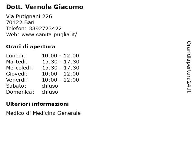 Dottor Vernole Giacomo (Medico di Medicina Generale) a Bari: indirizzo e orari di apertura