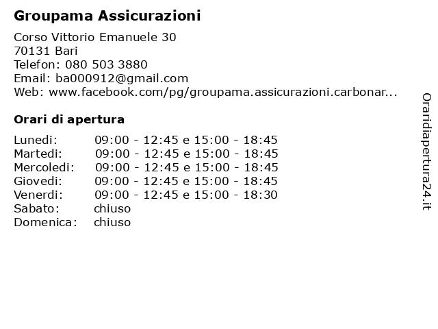 Groupama Assicurazioni a Bari: indirizzo e orari di apertura