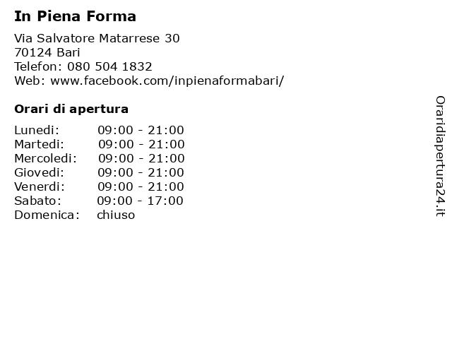 Á… Orari In Piena Forma Via Salvatore Matarrese 30 70124 Bari
