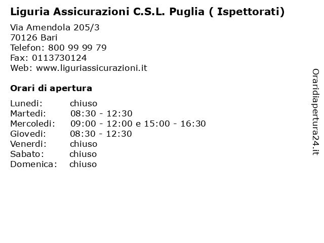 Liguria Assicurazioni C.S.L. Puglia ( Ispettorati) a Bari: indirizzo e orari di apertura
