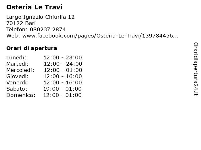 Osteria Delle Travi Il Buco a Bari: indirizzo e orari di apertura