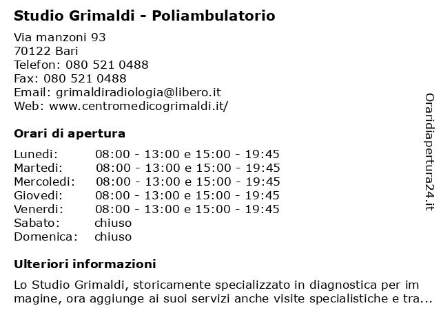 Studio Grimaldi - Poliambulatorio a Bari: indirizzo e orari di apertura