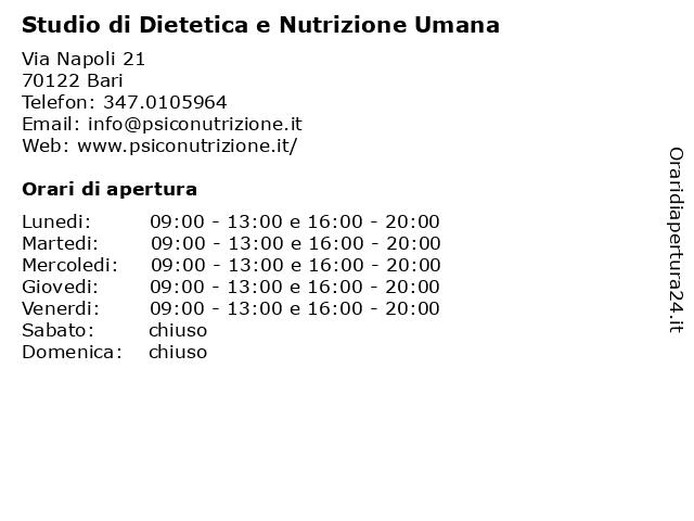 Studio di Dietetica e Nutrizione Umana a Bari: indirizzo e orari di apertura