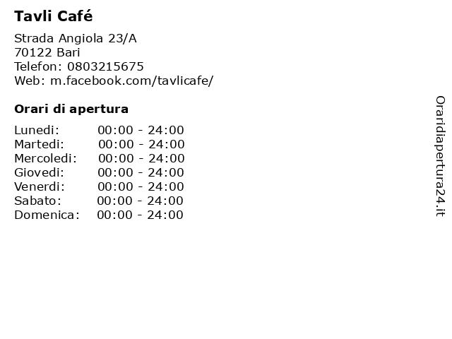 Tavli Cafe' Di Visi Snc Di Silvaggi Alessandra & c. a Bari: indirizzo e orari di apertura