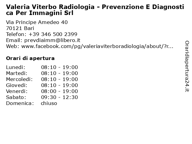 Valeria Viterbo Radiologia - Prevenzione E Diagnostica Per Immagini Srl a Bari: indirizzo e orari di apertura