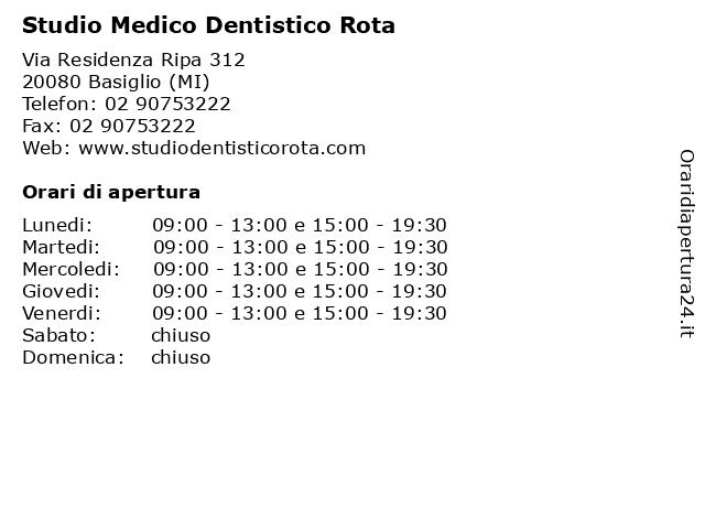 Studio Medico Dentistico Rota a Basiglio (MI): indirizzo e orari di apertura