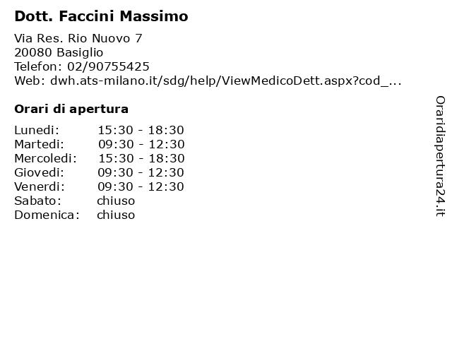Dott. Faccini Massimo a Basiglio: indirizzo e orari di apertura