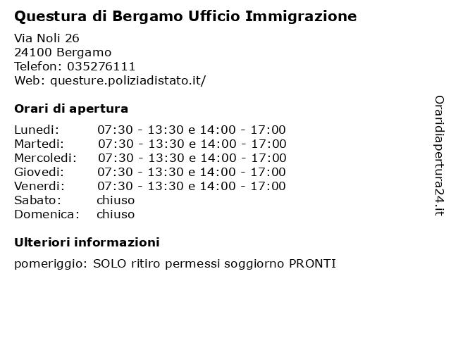 ᐅ Orari Di Apertura Questura Di Bergamo Ufficio Immigrazione Via Noli
