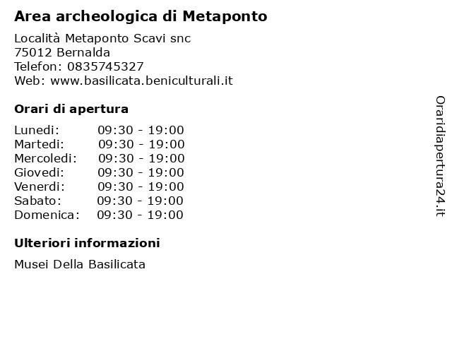 Area archeologica di Metaponto a Bernalda: indirizzo e orari di apertura