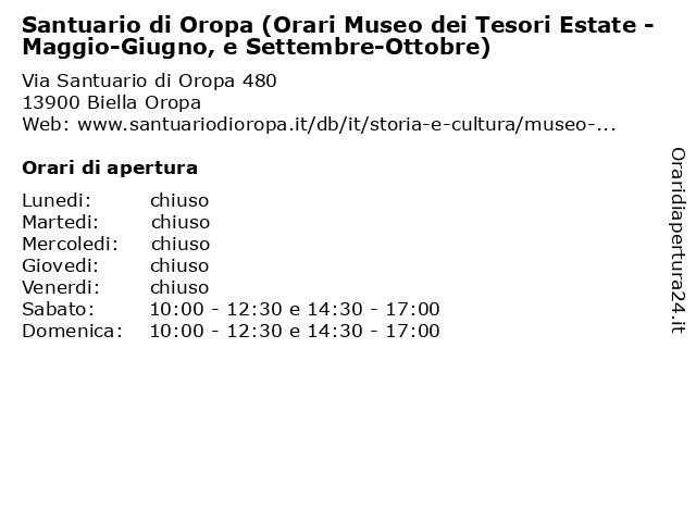 Santuario di Oropa (Orari Museo dei Tesori Estate - Maggio-Giugno, e Settembre-Ottobre) a Biella Oropa: indirizzo e orari di apertura