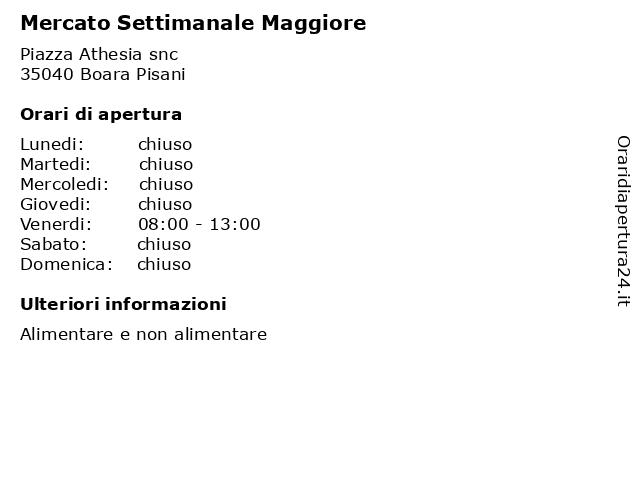 Mercato Settimanale Maggiore a Boara Pisani: indirizzo e orari di apertura