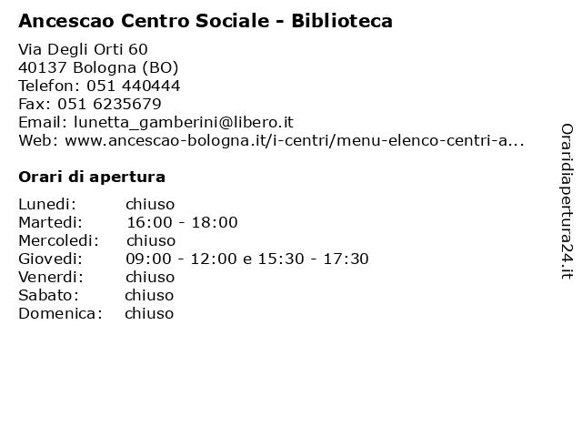 Ancescao Centro Sociale - Biblioteca a Bologna (BO): indirizzo e orari di apertura