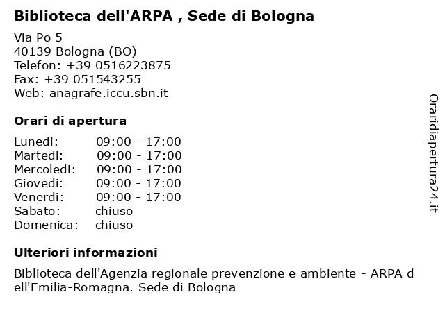Biblioteca dell'ARPA , Sede di Bologna a Bologna (BO): indirizzo e orari di apertura