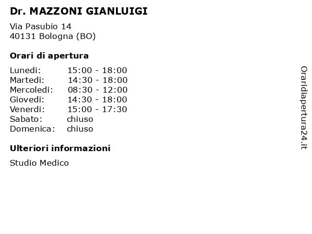 Dr. MAZZONI GIANLUIGI a Bologna (BO): indirizzo e orari di apertura